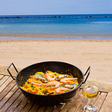 Seafood paella in seaside cafe