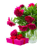 peony flowers with gift box