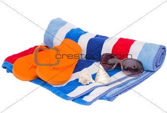 beach towel and sandals