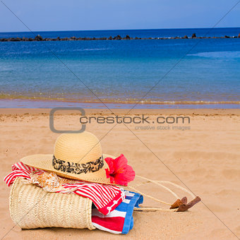 sunbathing accessories at beach