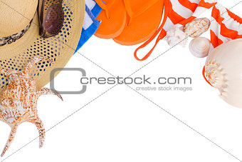 orange sandals and seashells frame