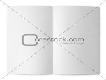 Blank folded flyer on white