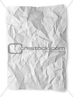 Crumpled paper on white