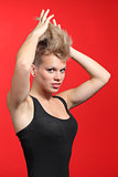 Fashion woman stretching her punk style hair
