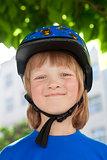 Boy in Bicycle Helmet