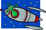 alien in rocket cartoon illustration