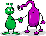 aliens or martians cartoon illustration