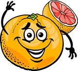 red grapefruit fruit cartoon illustration
