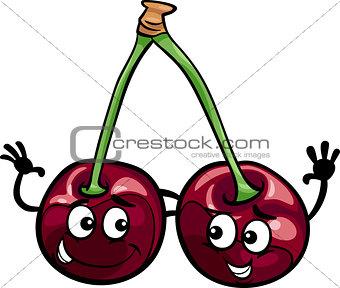 black cherry fruits cartoon illustration