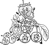 berry fruits cartoon for coloring book