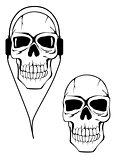 Danger human skull in headphones