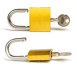 Yellow padlock and keys