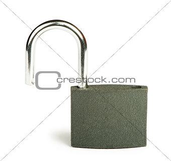 Grey padlock isolated studio shot