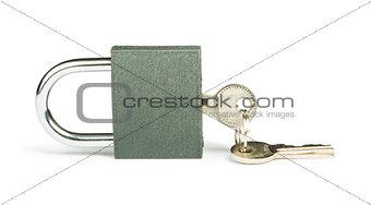 Grey padlock and keys