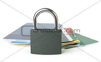 Grey locked padlock and credit cards.