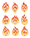 Set of fire icons.