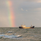 Small coastal vessel in the waters of the dutch Ijsselmeer