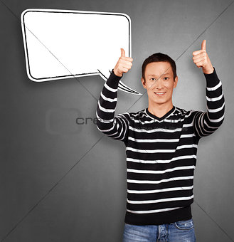 Asian Man In Striped with Speech Bubble