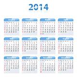 Blue glossy calendar for 2014