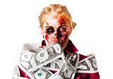 Worried zombie with Dollar bills