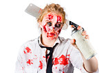 Zombie sales woman with spray can