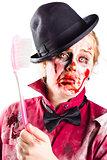 Diseased woman with big toothbrush