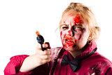 Criminal zombie pointing revolver