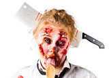 Knifed woman licking spoon