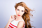 Fashion beauty girl. Beautiful woman long red hair