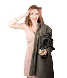 Vintage american pinup girl. Army style
