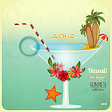 Summer Cocktail Card in retro Style
