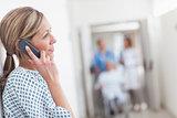 Patient calling in a hospital corridor