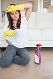 Woman exhausted doing the housework