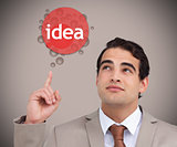 Man pointing to idea bubble