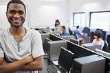 Student standing in computer room