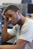 Student looking upset in computer room