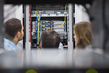 Technicians viewing a server