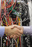 Handshake in front of a data store
