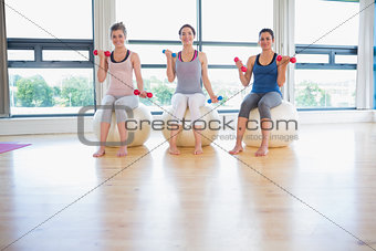 Three  women in fitness studio