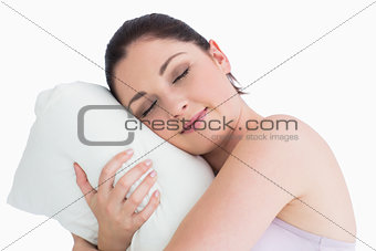 Woman sleeping on her pillow