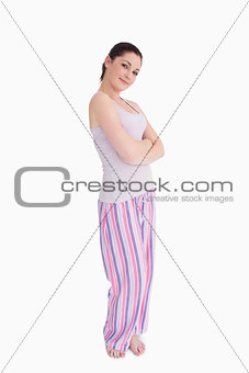 Woman smiling in pyjamas
