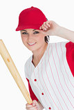 Woman holding a basball bat