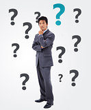 Questioning businessman