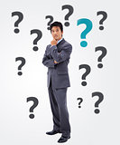 Businessman thinking on question mark background