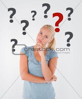 Blonde woman thinking