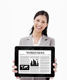 Businesswoman showing her digital tablet