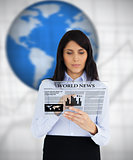 Businesswoman reading virtual newspaper