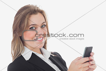 Portrait of business woman using cell phone