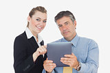 Portrait of business people with digital tablet