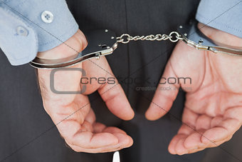 Closeup of arrested businessman